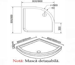 Cadita de baie Jasmine - detalii tehnice
